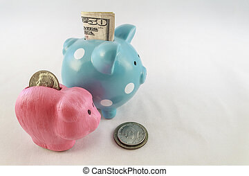Money and Piggy Banks - A big blue and polka dot piggy bank...