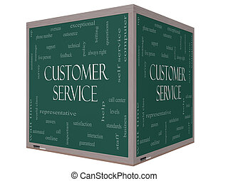 Customer Service Word Cloud Concept on a 3D cube Blackboard...