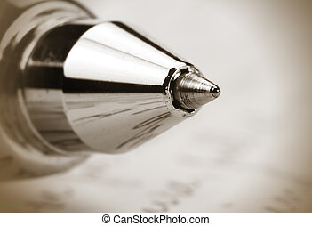 Ball point pen - Extreme close up shot of ball point pen in...