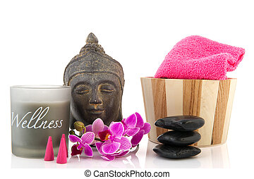 Wellness objects - Stilllife with wellness objects as buddha...