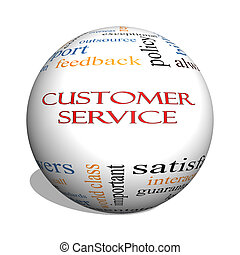 Customer Service 3D sphere Word Cloud Concept with great...