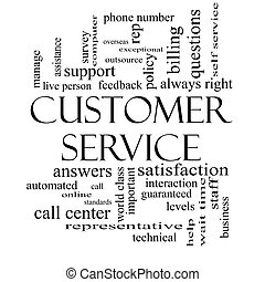 Customer Service Word Cloud Concept in Black and White -...