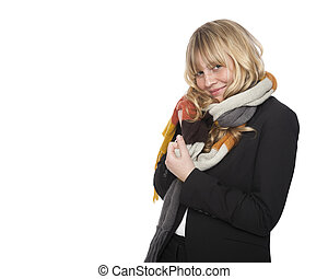 Stylish woman in a winter scarf - Stylish young blond woman...