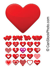 Heart icons set Stylize trendy design Vector concept...