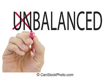 Balanced or Unbalanced, a conceptual image with a male hand...