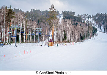 Ski Lift in the mountains in the winter