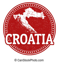 Croatia stamp - Vintage stamp with world Croatia written...