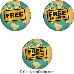 free shipping worldwide icons