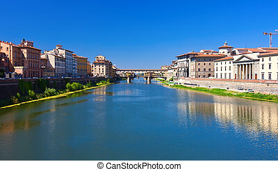 Arno river in Florence - Beautiful view of Arno river and...