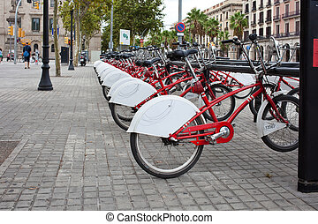 Bicycle rental - View of public bicycle rental in Barcelona,...