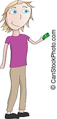 girl paying - cartoon vector girl holding out dollar to pay