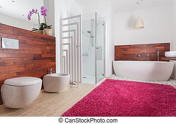 rojo, alfombra, brillante, cuarto de baño