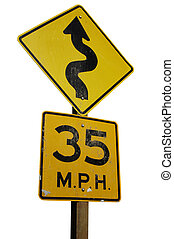 Winding road - Warning sign for a winding road ahead