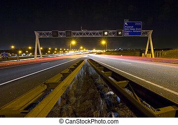 Motorway Junction - Two motorway lanes merging into one