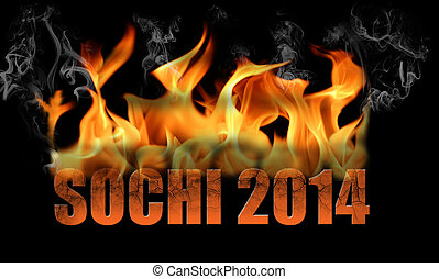 Sochi 2014 Fire Text - This is fire text saying Sochi 2014,...