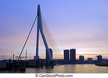 Erasmus Bridge at Dusk - The famous Erasmus Suspension...