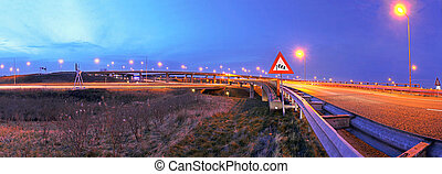 Highway junction - A panoramic view on a huge highway...