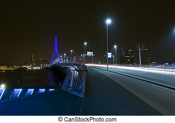 Erasmus Bridge at Night - The famous Erasmus Bridge over the...