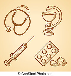 Icons set of medical items of phonendoscope pills and...