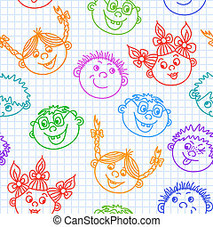 Seamless doodle smiling kids faces pattern vector...