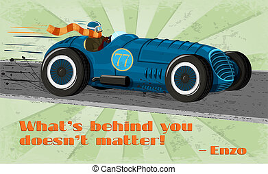 Vintage racing car poster isolated vector illustration