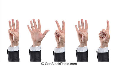 counting hands - Businessman counting hands Isolated on...