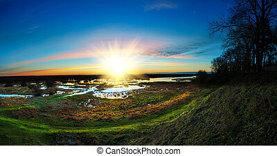 panoramic sunrise over the riverside with bright colors go very well for site header