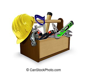 Tool box with Tools and Hard Helmet - Tool box with Tools...