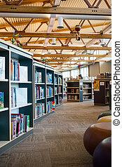 libro, Estantes, en, biblioteca