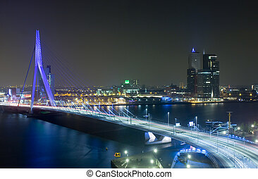 Erasmus Bridge by Night - The Rotterdam Skyline with the...