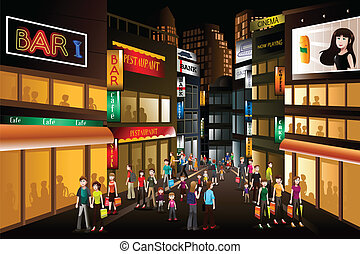 People shopping at night - A vector illustration of people...