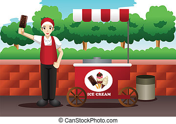 Ice cream man - A vector illustration of ice cream man