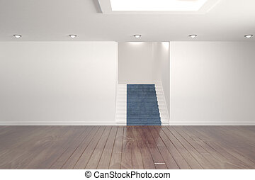 Digitally generated room with stairs