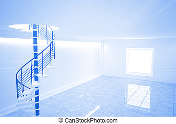 Bright blue room with spiral staircase