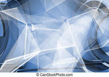 White abstract angular design