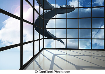 Staircase in blue sky seen through window