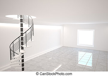 Digitally generated room with winding stairs