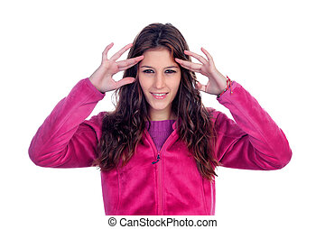 Casual girl trying to focus isolated on white background