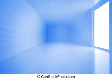 Bright blue room with windows