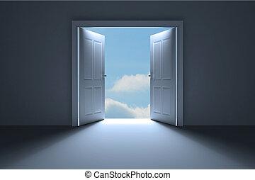 Door opening in dark room to show sky