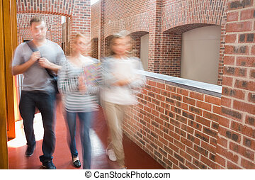 Students walking in the corridor together