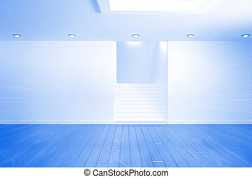 Bright blue room with staircase