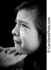 Little girl crying - Portrait of a little girl crying,...