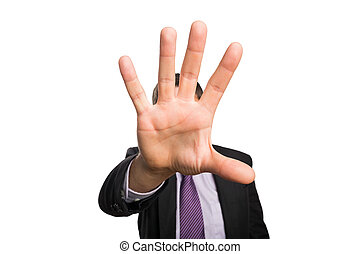 Close-up of a businessman with stop gesture