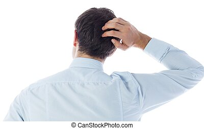 Businessman scratching his head