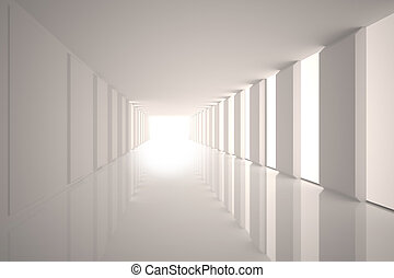 Lit up white modern hallway