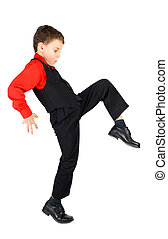 Stylish little dancer - Handsome stylish little boy dancing,...