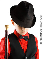 Little dancer - Stylish little dancer with hat and cane,...