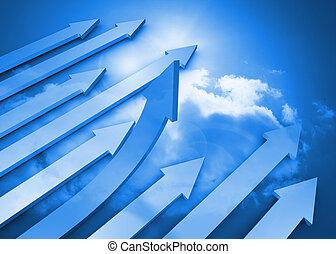 Arrows in the sky in blue