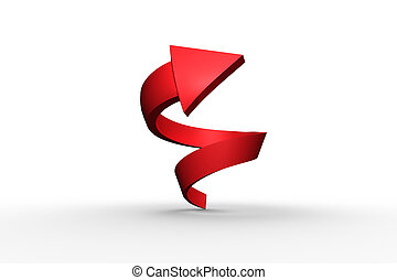 Red spiral arrow